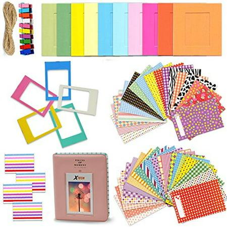 Xtech Fuji Mini 9/8 Accessories Kit with Mini Photos Album, 120 Mini Photos Sticker Frames, Colorful Hanging Frames with Hanging Clips and String, Colorful Desk Frames and Corner Sticker Frames](Halloween Mini Album Kit)