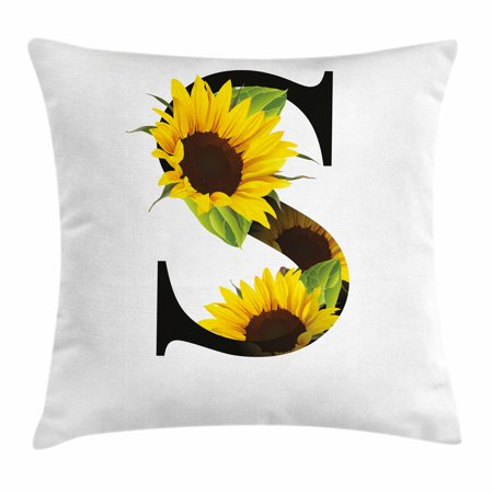 Letter S Throw Pillow Cushion Cover, Letter S with Flora Elements Sunflowers on Dark Colored Abstract Art Print, Decorative Square Accent Pillow Case, 16 X 16 Inches, Yellow Green Black, by