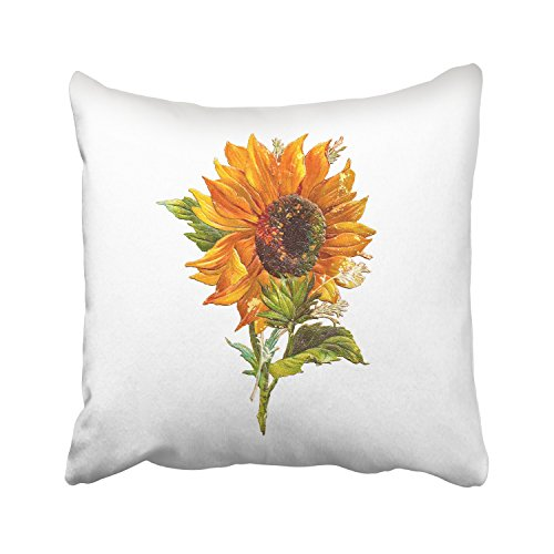 WinHome Oil Painting Orange Sunflower Green Leaves With White Decorative Pillowcases With Hidden Zipper Decor Cushion Covers Two Sides 20x20 inches