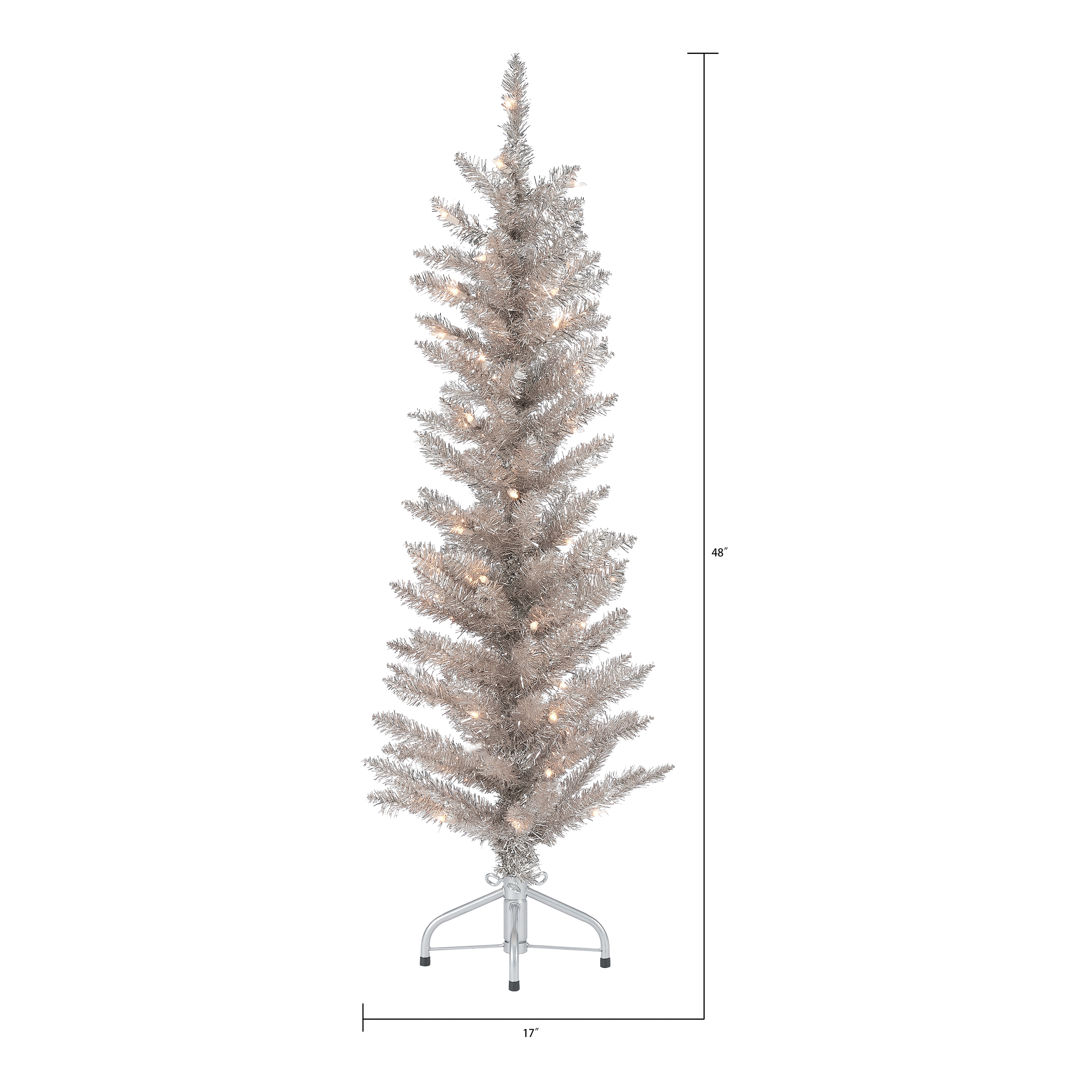 Holiday Time Pre Lit Rose Gold Tinsel Christmas Tree 4 Clear Walmart Com Walmart Com