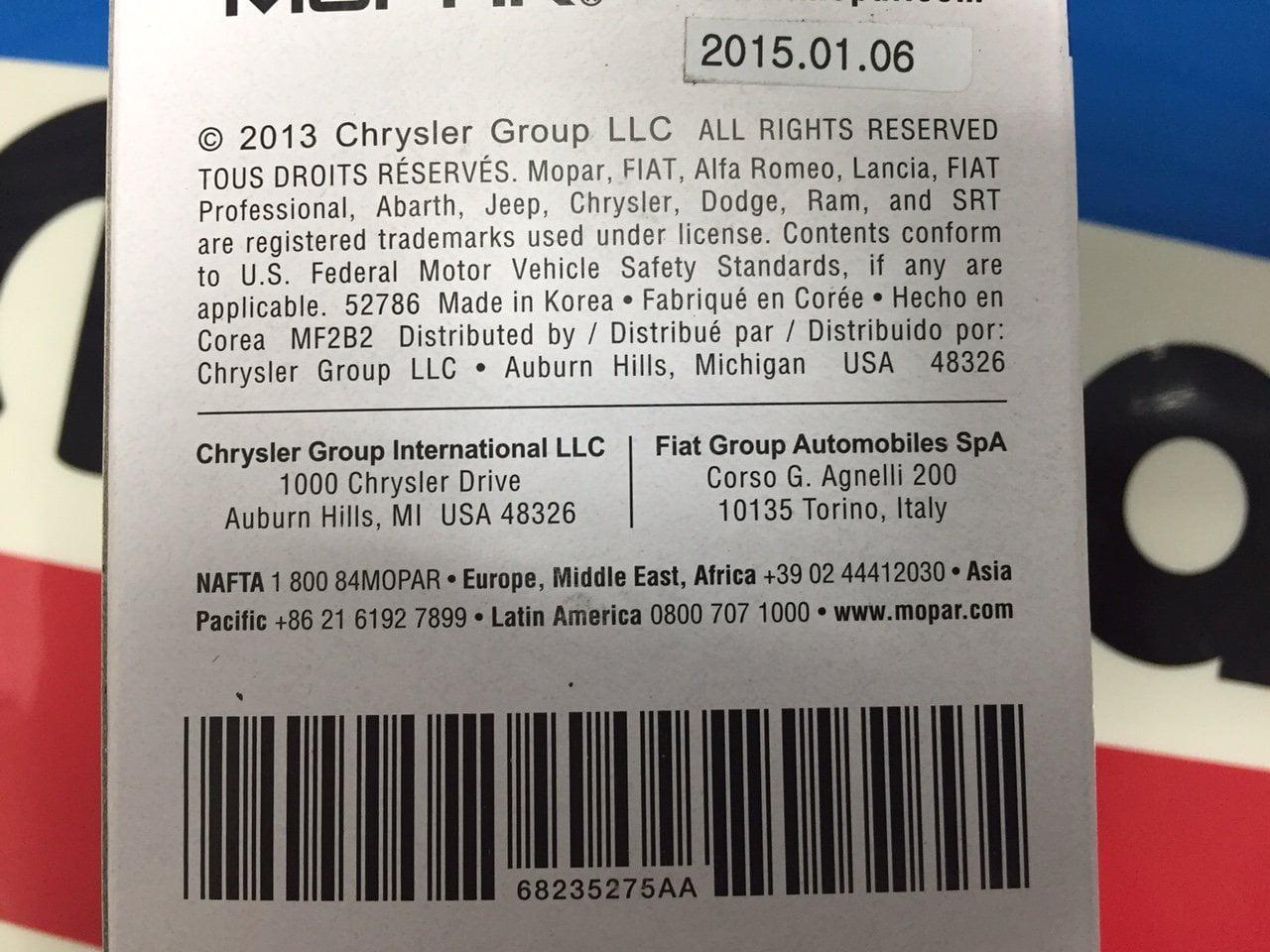 6823 5275aa Fuel Filter By Mopar 2013 Chrysler
