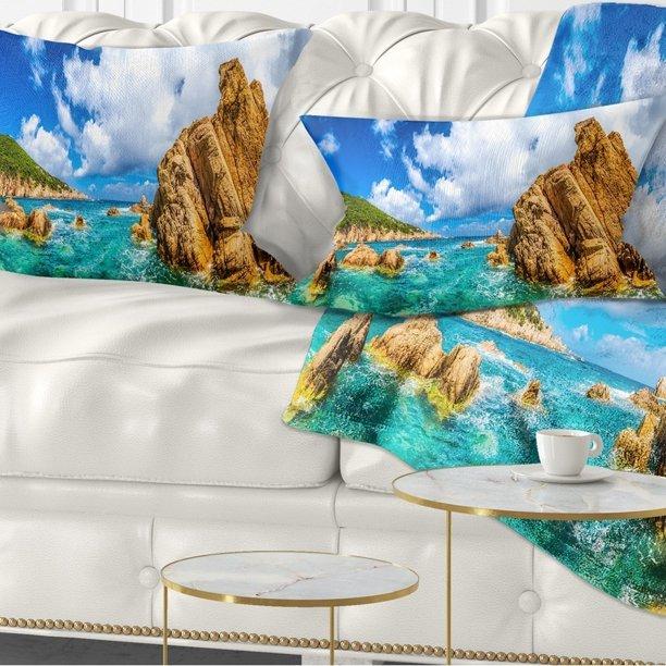 Design Art Designart Costa Paradiso Close View Seashore Photo Throw Pillow Walmart Com Walmart Com
