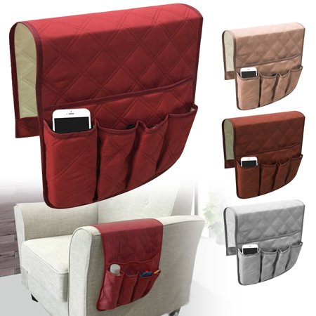 EEEKit Anti-Slip Armrest Cover Caddy Pocket Storgae Organizer for Sofa Couch Chair Recliner Loveseat, Storage Holder, Space Saver for Phone, Book, Magazines, Armchair Remote Control Holder, 35 x 17 in