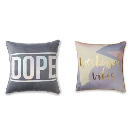 - $15 2 Pack Mainstays Dope Holographic & Weekend Vibes Metallic Throw Pillows Gift Set