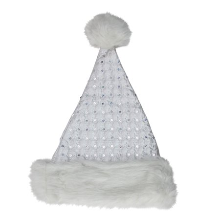 White Quilted Christmas Santa Hat with Silver Sequins; Adult Size - Bah Humbug Christmas Hat