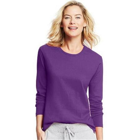 O9133 Womens Long-Sleeve Crewneck T-Shirt, Violet Splendor - Extra Large - image 1 of 1