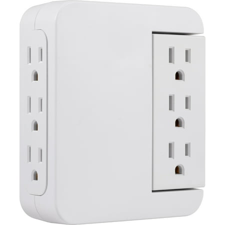 GE Pro 6-Outlet Wall Adapter Swivel Outlets, Surge Protector, 39226