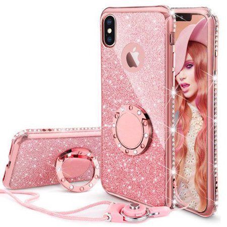 iPhone X Case, Glitter Cute Phone Case Girls with Kickstand, Bling Diamond Rhinestone Bumper Ring Stand Protective Pink iPhone X Case for Girl Women - Rose Gold