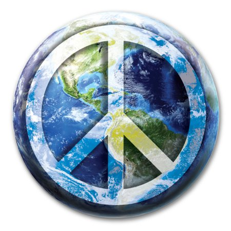 Peace Sign On Earth Circle Pin Back Button Tone Circle Pin