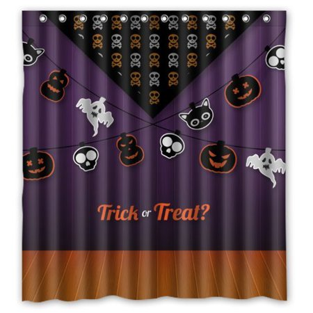 BPBOP Happy Halloween - Cool Ghost And Pumpkins In Lines Trick or Treat Shower Curtain Waterproof Polyester Fabric Bathroom Curtain 60x72 inch