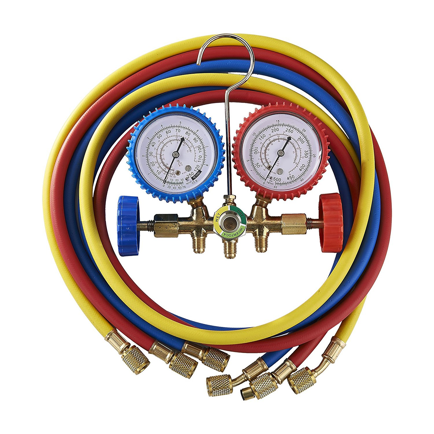 Tek Motion 5FT AC Diagnostic Manifold Freon Gauge Set for R12, R22, R502 Refrigerants, without Couplers