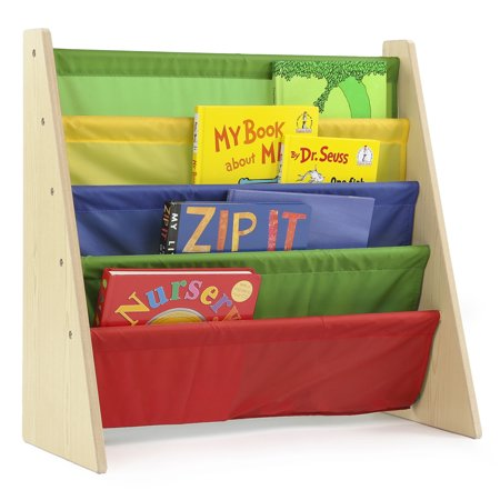 Tot Tutors Kids Book Rack with Fabric Sling Sleeves, Multiple Colors