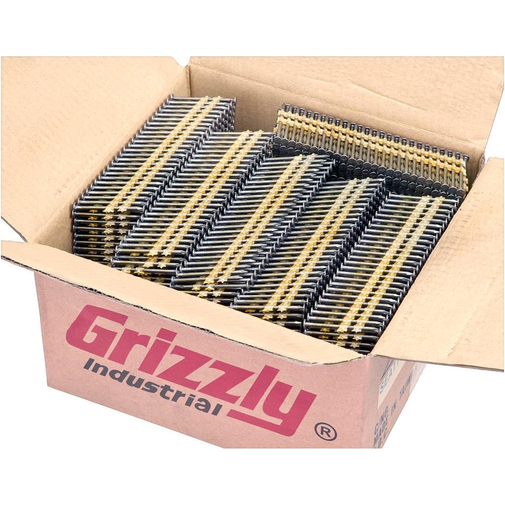 """Grizzly G6091 2"""" 20-22 Deg Round Head Bright Framing Nails, 6000 pc. by"""