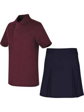 REAL SCHOOL Girls Uniform Outfit Polo Shirt and Scooter Skirt Value Bundle