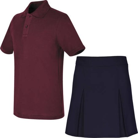 REAL SCHOOL Girls Uniform Outfit Polo Shirt and Scooter Skirt Value Bundle Shirts And Skirts