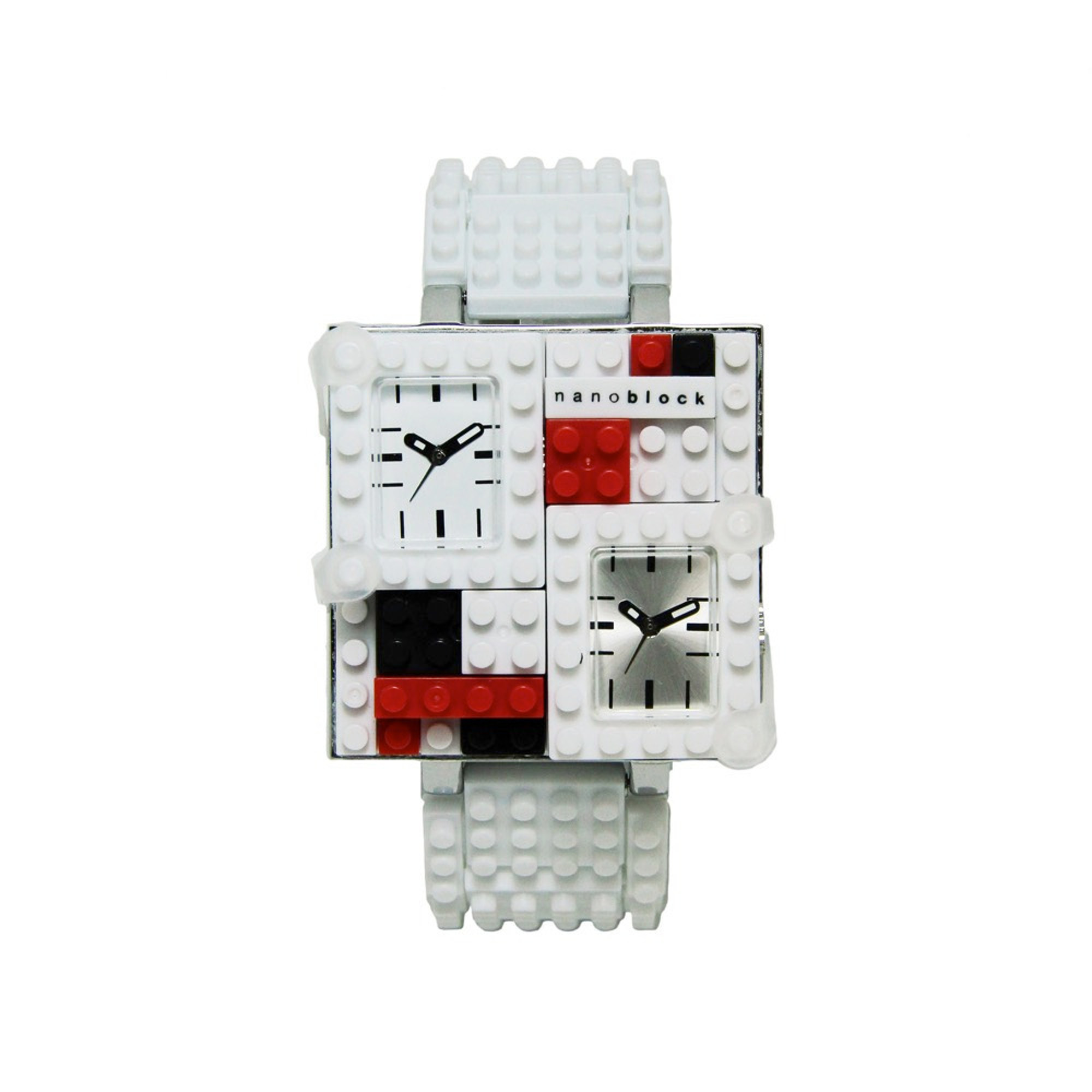 Nanoblocktime Traveler Metal Watch, White and Silver by Beta Enteprises Inc.