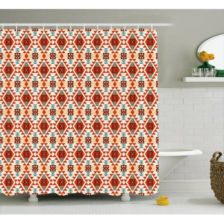 Tribal Shower Curtain Prehistoric Traditional Aztec Folk Motif With Geometric Triangles Native Design Fabric