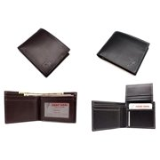 Black Men's Leather Italian Style Wide Bi-fold Wallet Window ID Hipster with Gift Box (52-318-15)