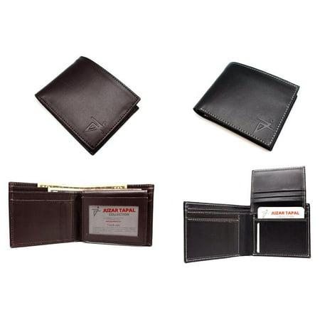 Black Men's Leather Italian Style Wide Bi-fold Wallet Window ID Hipster with Gift Box (52-318-15) Black Italian Favor Boxes