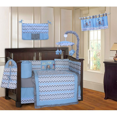 Harriet Bee Slavens Elephant ZigZag 10 Piece Crib Bedding Set