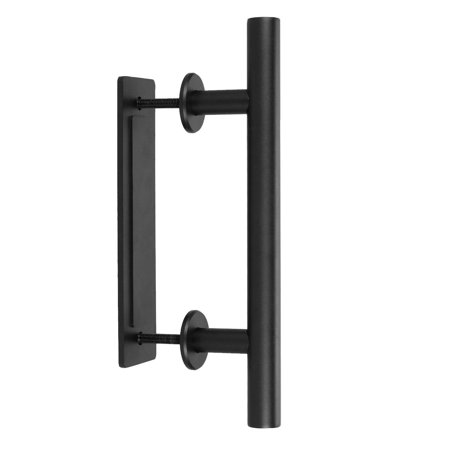 Clearance Hascon Barn Door Handle Pull Set 12inch Black Stainless Steel Pull And Flush Hardware HITC