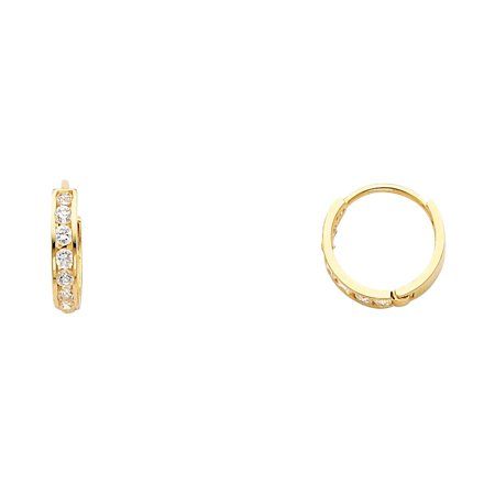 - 14k Yellow Gold Round CZ Simuated Diamonds Huggies Hoop 2mm Thick by 12mm Height Round Earrings