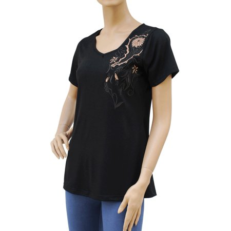 Faship Womens Embroidered Embroidery Front & Back Stretch T-Shirt Top Tee Blouse