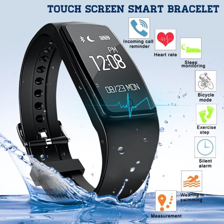 Bluetooth Smart Watch, IP67 Waterproof Smart Wristband Bracelet for iPhone and Android Phones, Bluetooth 4.0, OLED Display, Sleeping Health Sport Fitness Tracker ()