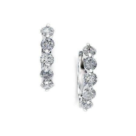 Classica 0.98 TCW Diamond and 14K White Gold Hoop Earrings (Jessica Hoop)