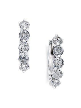 Classica 0.98 TCW Diamond and 14K White Gold Hoop Earrings