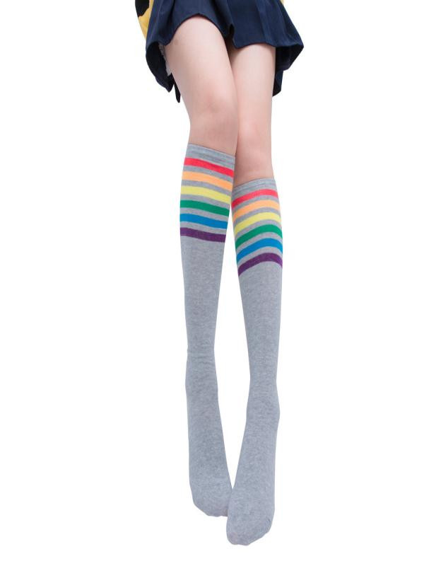 1 Pair Girls Thigh High Socks Over Knee Rainbow Stripe Football Sport Cotton Socks