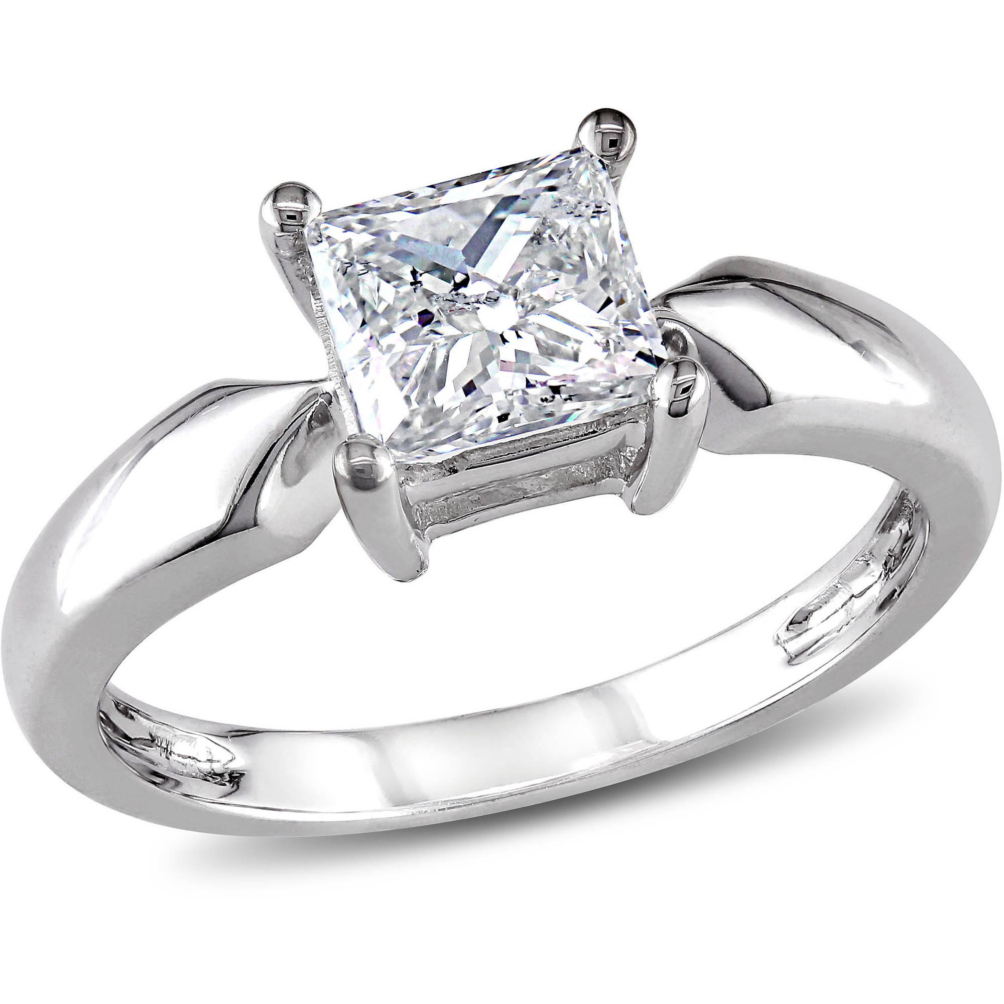 Miabella 1 Carat T.W. Princess Cut Diamond Solitaire Ring in 14kt White Gold
