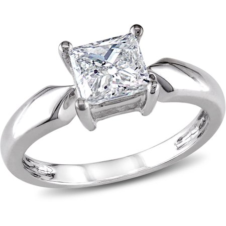 Miabella 1 Carat T.W. Princess Cut Diamond Solitaire Ring in 14kt White Gold