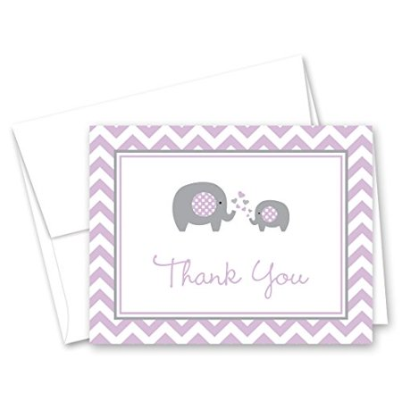 MyExpression.com 50 Purple Chevron Elephant Baby Shower Thank You Cards - image 1 of 1