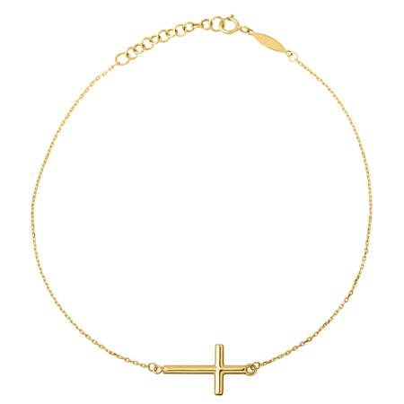 10kt Yellow Gold Side Cross on Cable with Extender (Goldstone Anklet)