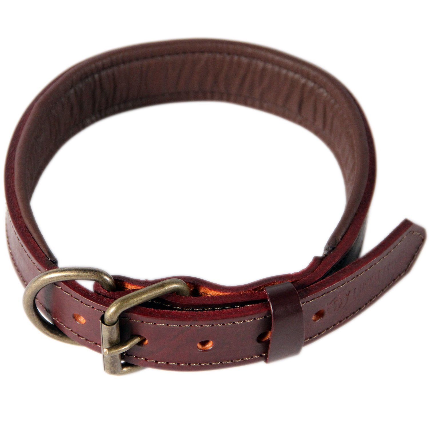Logical Leather Padded Leather Dog Collar, Brown - L