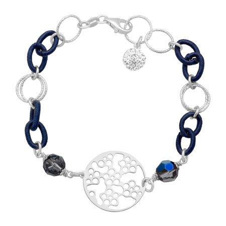 Fabric Link Bracelet with Swarovski Crystals in Sterling Silver