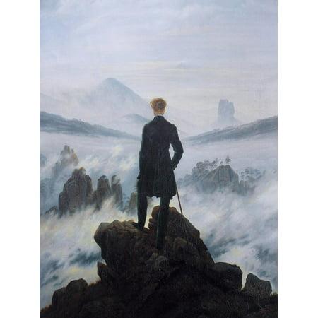 Caspar Friedrich Wanderer Above the Sea of Fog Art Print Poster Print Wall (Wanderer Above The Sea Of Fog Print)