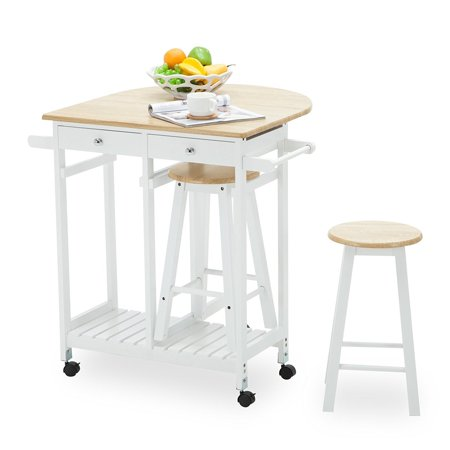 Enclosed Drop Leaf Cart - Rolling Kitchen Trolley Cart Island Drop Leaf Table Mecor with 2 Stools and 2 Drawers for Home Breakfast,White Small