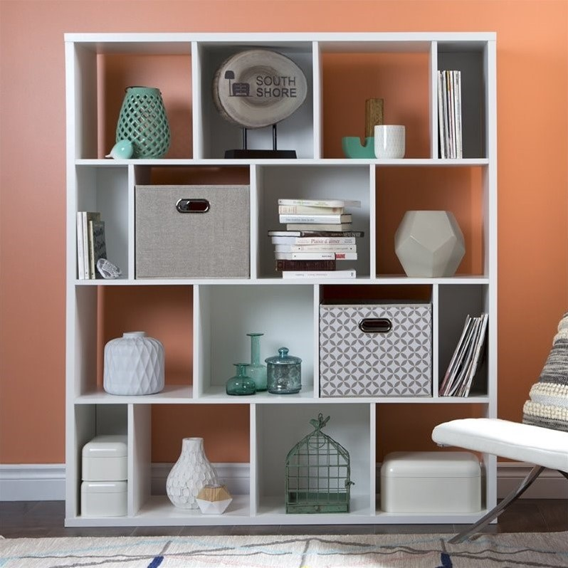 South Shore Reveal 16-Cube Shelving Unit with 2 Fabric Storage Baskets-Finish:Pure White