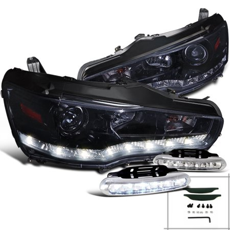Spec-D Tuning For 2008-2015 Mitsubishi Lancer/ Evo Smoke Smd Led Glossy Black Projector Headlights + Bumper Lights (Left + Right) 2008 2009 2010 2011 2012 2013 2014 (2003 Mitsubishi Lancer Evo 8 For Sale)