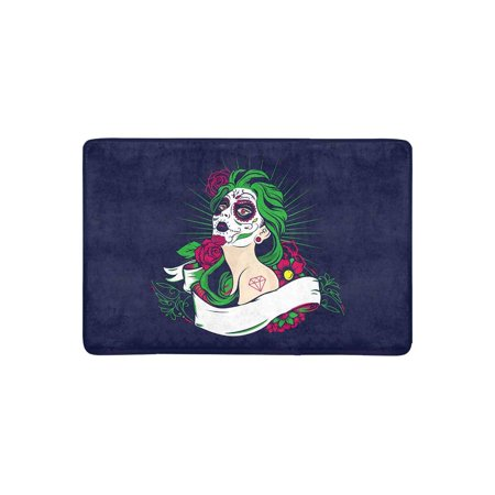MKHERT Halloween Dead Sugar Skull Girl with Floral Ornament and Flower Doormat Rug Home Decor Floor Mat Bath Mat 23.6x15.7 inch - Level 4 100 Floors Halloween
