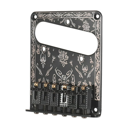 Guitar Replacement Parts 6 Strings Fixed Bridge 6-Saddle Hardtail Bridge with Screws and Wrench for Electric Guitars Laser Black