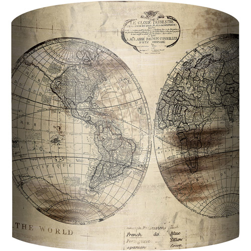 "10"" Drum Lampshade, World Map by"
