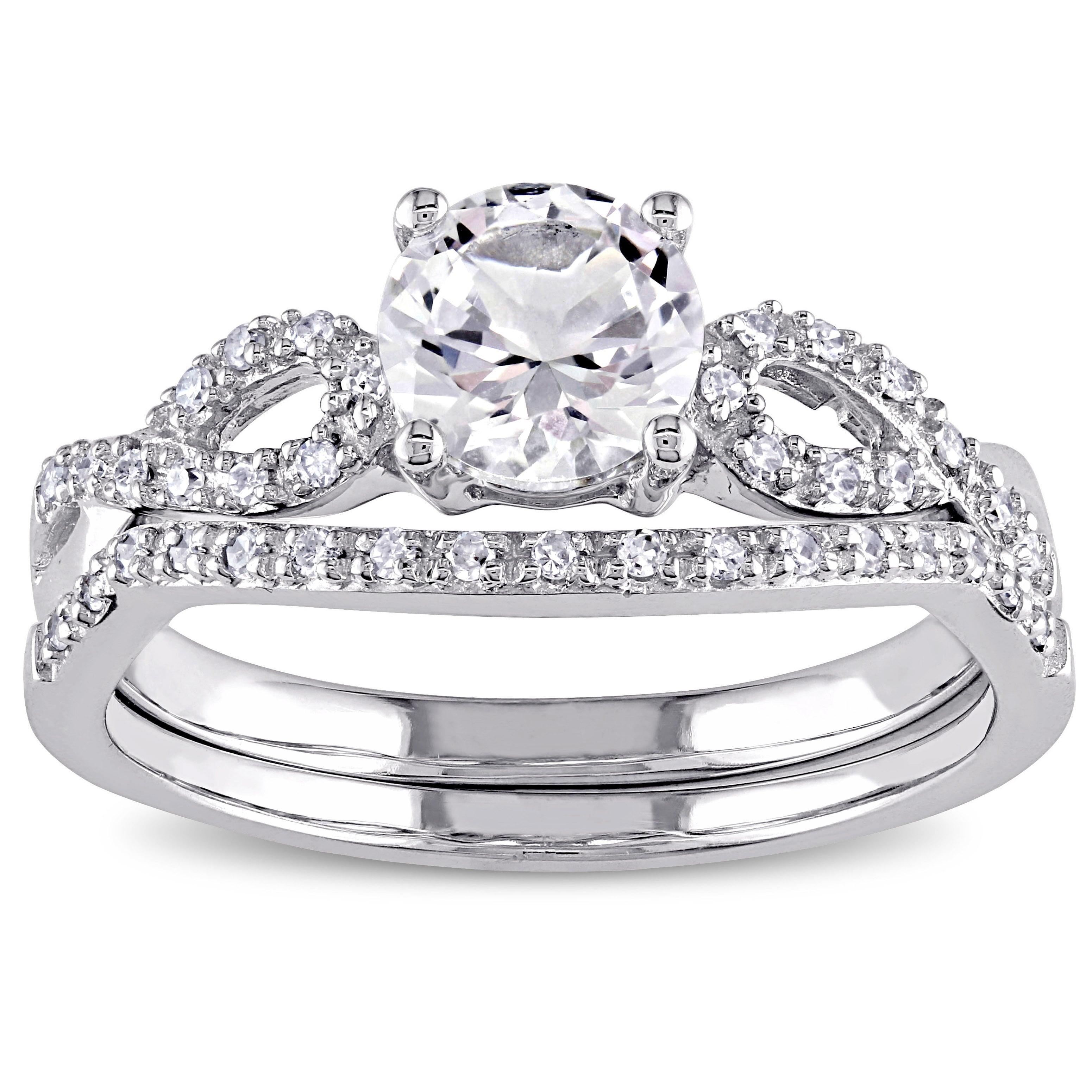 Miadora 10k White Gold Created White Sapphire and 1 6ct TDW Diamond Bridal Set by Overstock