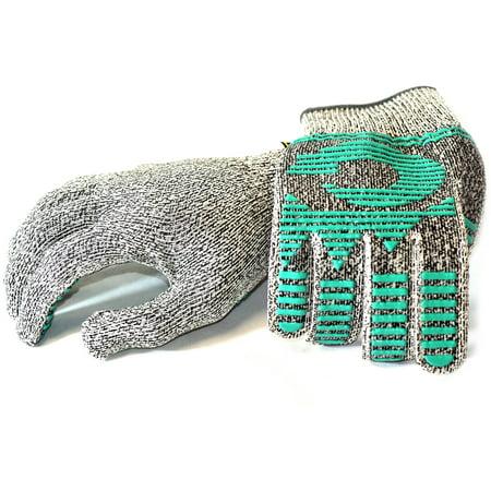G & F 77100M Cutshield Hybrid Cut Resistant Gloves with Heat Resistant Silicone Block Palm Coating, Cut Level 5, Food Grade, Medium