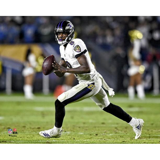 Lamar Jackson Baltimore Ravens Unsigned White Jersey Scrambling Photograph