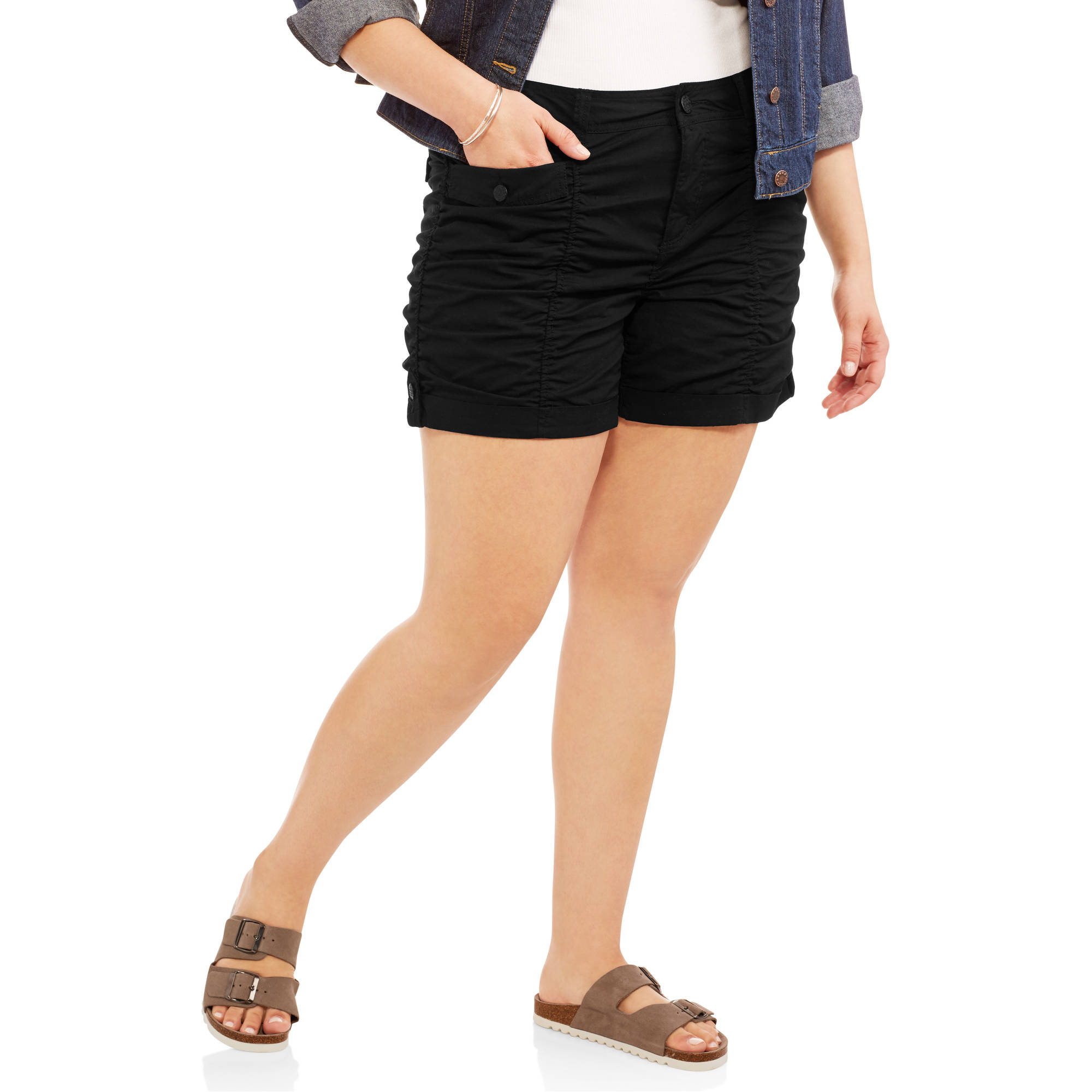 Faded Glory Women's Plus Ruched Shorts