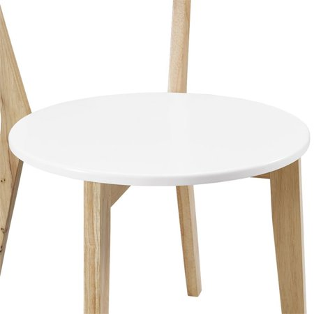 Walker Edison Dining Chair in White and Natural (Set of 2) - image 2 of 3