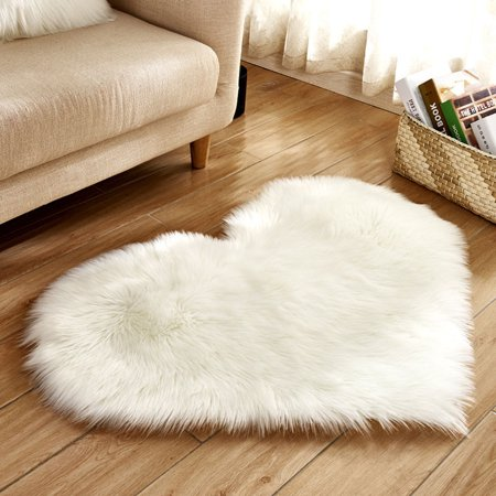 Tuscom Wool Imitation Sheepskin Rugs Faux Fur Non Slip Bedroom Shaggy Carpet Mats